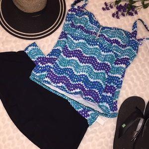 NEW BLEU Rod Beattie Waves Tankini Skirt Swimsuit